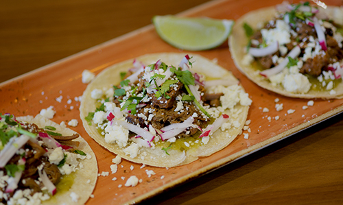 Torre features tacos on corn tortillas for gluten free options