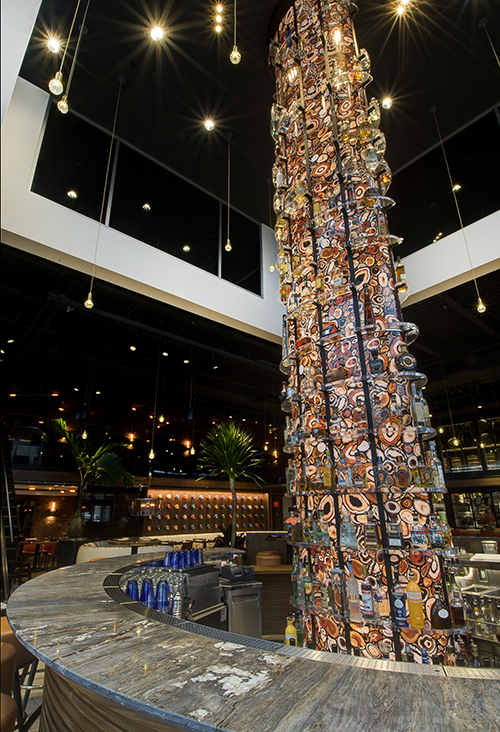 Torre's three story tequila tower is home to over 80 varieties of tequila and glows bright visible from Center Valley Parkway Lehigh Valley
