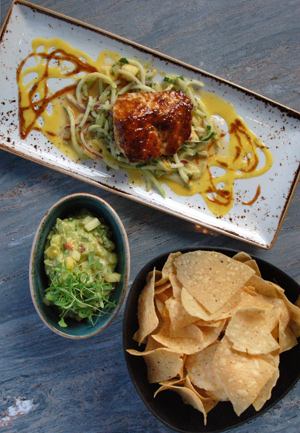 Salmon, guacamole and tortilla chips in Torre's modern interpretation of classic Mexican cuisine